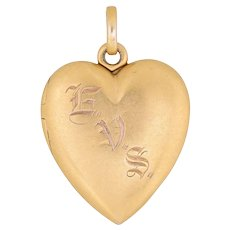 Antique Victorian Heart Locket 14 Karat Yellow Gold Vintage Jewelry Picture Pendant