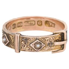 Antique Edwardian c1903 Hair Ring Buckle 9 Karat Rose Gold Mourning Jewelry Sz 6.5