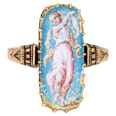 Antique Victorian Painted Portrait Ring Muse of Music Terpsichore 18 Karat Gold 6.5