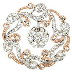 Estate 14 Karat White Rose Gold Diamond Flower Circle Cocktail Pendant Jewelry