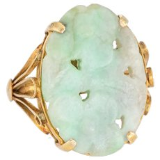 Vintage Carved Jade Flower Ring 14 Karat Yellow Gold Cocktail Estate Fine Jewelry 6