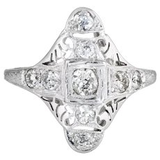 Antique Deco Diamond Ring 18 Karat White Gold Filigree Long Shield Dinner Jewelry 7.5