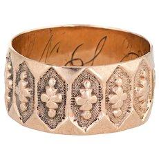 Antique Victorian Wedding Band Sz 5 Clover Pattern 10 Karat Rose Gold Jewelry
