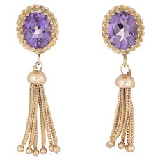 Oval Amethyst Tassel Earrings 14 Karat Yellow Gold Fringe Drops Estate Fine Jewelry