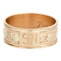 Antique Victorian Wedding Band c1899 Sz 7.5 10 Karat Rose Gold Flowers Ring Jewelry