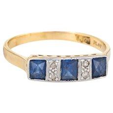 Antique Deco Diamond Sapphire Band 18 Karat Gold Platinum Ring French Cut Vintage