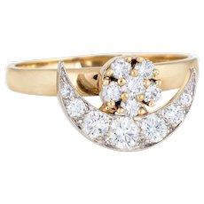 Vintage N Teufel Crescent Moon Star Diamond Spinner Ring 14 Karat Gold Motion c1980