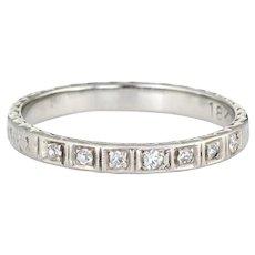 Antique Deco Diamond Ring 18 Karat White Gold Wedding Band Sz 4.5 Pinky Vintage