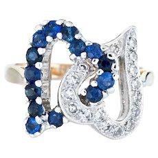 Double Heart Diamond Ring Sapphire 10 Karat Yellow Gold Estate Fine Jewelry Sz 5.75