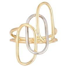 Vintage Two Tone Ring 18 Karat Yellow Gold Paperclip Oval Circles Design Estate 7.25