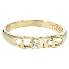 Vintage Diamond Love Script Ring 14 Karat Yellow Gold Estate Fine Jewelry Sz 6