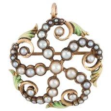 Antique Victorian Pendant Brooch Seed Pearl Enamel Leaves 14 Karat Gold Vintage