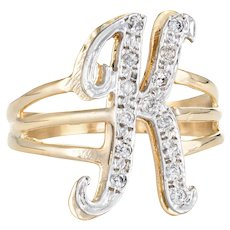 Vintage Letter K Initial Ring 14 Karat Yellow Gold Estate Fine Script Jewelry