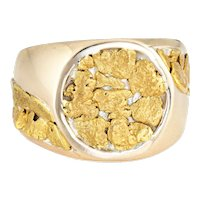 Vintage Mens Gold Nugget Ring Round Signet 10 Karat Sz 9.75 Estate Fine Jewelry