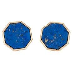 """Vintage Large 1"""" Octagon Earrings 14 Karat Yellow Gold Lapis Lazuli Estate Jewelry"""