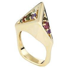 Vintage H Stern 80s Rainbow Gemstone Ring 18 Karat Yellow Gold Geometric Jewelry Sz 6