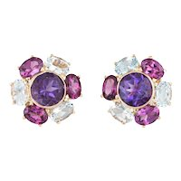 Amethyst Blue Topaz Cluster Earrings Estate 14 Karat Yellow Gold Round Studs Jewelry