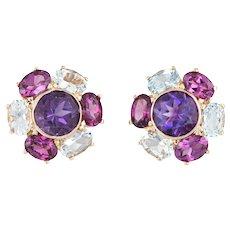 Amethyst Blue Topaz Cluster Earrings Estate 14 Karat Yellow Gold Round Studs Jewelry
