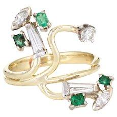 Vintage Diamond Emerald Ring 14 Karat Yellow Gold Organic Branch Abstract Jewelry