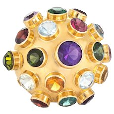 H Stern Sputnik Gemstone Dome Large Vintage Cocktail Ring 18 Karat Yellow Gold 7.5