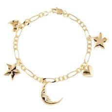 Vintage Charm Bracelet Crescent Moon Star Heart 14 Karat Yellow Gold Estate Jewelry