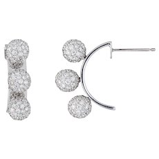 Gwennie Tam Three Sisters Pave Diamond Earrings 3 Ball Orb 18 Karat Gold Estate