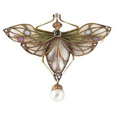 Antique Art Nouveau Dragonfly Plique a Jour Brooch 18 Karat Gold Diamond Pearl Old