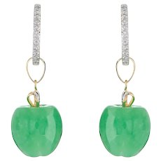 Apple Jade Diamond Drop Earrings Estate 14 Karat Yellow Gold Small Hoops Fine Jewelry