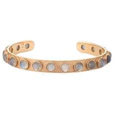 Irene Neuwirth Labradorite Bracelet Cuff Estate 18 Karat Yellow Gold Fine Jewelry