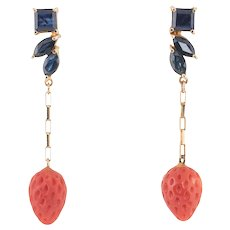 Sapphire Red Coral Strawberry Earrings Vintage 14 Karat Yellow Gold Estate Jewelry