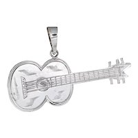 Acoustic Guitar Pendant Vintage 14 Karat White Gold Estate Fine Musical Jewelry