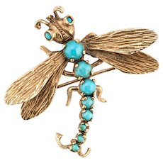 Dragonfly Turquoise Brooch Vintage 14 Karat Yellow Gold Estate Fine Jewelry Insect