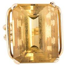 Large Citrine Cocktail Ring Vintage 14 Karat Yellow Gold Estate Fine Jewelry Sz 9