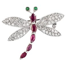 Dragonfly Gemstone Brooch Estate 18 Karat White Gold Diamond Ruby Emerald Jewelry