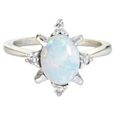 Vintage Natural Opal Diamond Ring 14 Karat White Gold Estate Fine Jewelry Sz 5.25