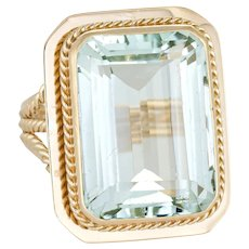 Vintage 14 Carat Aquamarine Ring 14 Karat Yellow Gold Cocktail Estate Fine Jewelry 7