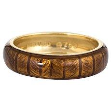 Estate Hidalgo 5mm Band 18 Karat Yellow Gold Sz 5 1/2 Bronze Ring Brown Enamel 5.5