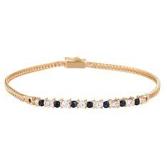 "Diamond Sapphire Bar Bracelet Vintage 14 Karat Gold 7"" Estate Layering Jewelry Line"