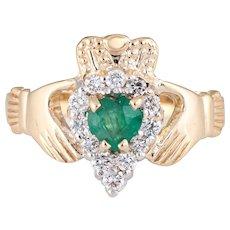 Vintage Irish Claddagh Ring Emerald Diamond 14 Karat Gold Love Jewelry Estate 9.5