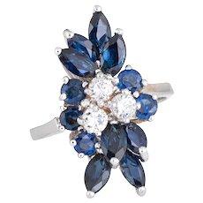 Vintage Sapphire Diamond Spray Ring 14 Karat White Gold Cocktail Estate Fine Jewelry