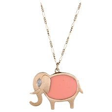 Hammerman Brothers Elephant Pendant Necklace Diamond 14 Karat Gold Vintage Jewelry