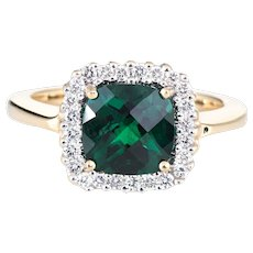 Estate Chatham Emerald Diamond Ring 14 Karat Yellow Gold Square Cocktail Jewelry 7