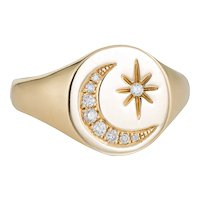 Crescent Moon Star Diamond Signet Ring Estate 14 Karat Yellow Gold Sz 6.5 Jewelry