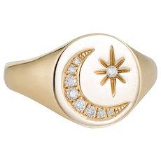 Crescent Moon Star Diamond Signet Ring Estate 14 Karat Yellow Gold Sz 6.5 Jewelry