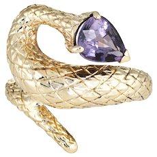 Vintage Snake Ring Purple Spinel 14 Karat Yellow Gold Pear Cut Sz 7.25 Estate