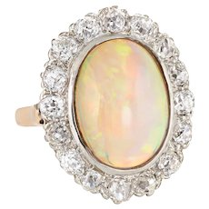 Antique Deco Opal Diamond Ring 14 Karat Yellow Gold Cocktail Oval Princess Vintage