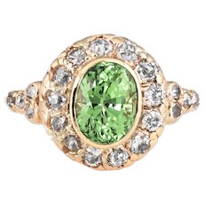 Antique Deco Tsavorite Garnet Diamond Ring Vintage 14 Karat Yellow Gold Jewelry 5.5
