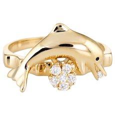 Vintage N Teufel Dolphin Diamond Spinner Ring 18 Karat Gold Motion c1987 Ocean