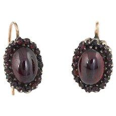 Antique Victorian Garnet Earrings 10 Karat Rose Gold Oval Drops Vintage Fine Jewelry