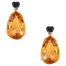 Citrine Heart Cut Sapphire Earrings Clip On Vintage 14 Karat Yellow Gold Mixed Gems